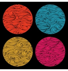 Set of colored round shape made of waves ornaments vector image