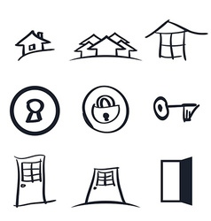 Set of nine realestate logos vector image