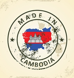 Stamp with map flag of Cambodia vector image
