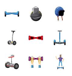 Trendy vehicle icons set cartoon style vector