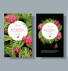 Tropical flower vertical banners vector