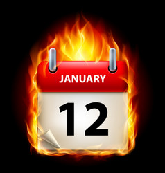 Twelfth january in calendar burning icon on black vector