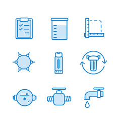 water filter icon set vector image