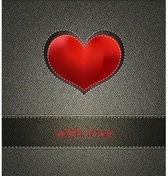 background with jeans and heart vector image