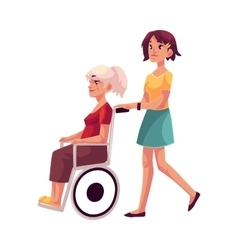 Young woman strolling grandmother in wheelchair vector image
