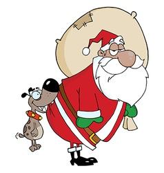 Dog Biting A African American Santa Claus vector image