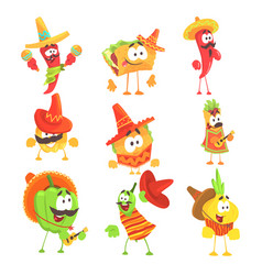 mexican food and vegetables series of cool cartoon vector image
