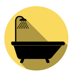 Bathtub sign  flat black icon with flat vector