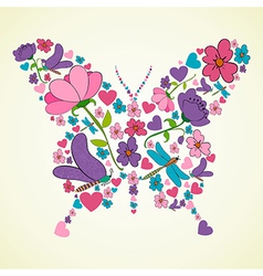 Beautiful spring flowers butterfly shape vector
