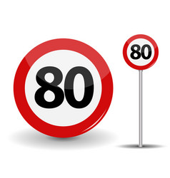 Round red road sign speed limit 80 kilometers per vector