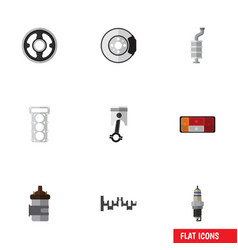 Flat icon component set of steels shafts metal vector
