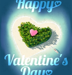 Happy valentines day tropical island vector