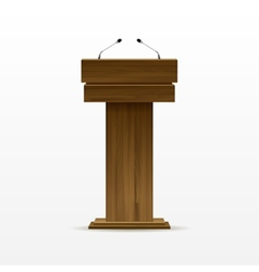 Wood podium tribune rostrum stand with microphone vector