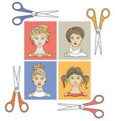 Hairstyles and scissors 1 vector