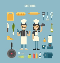 Set of icons and in flat design style cooking vector