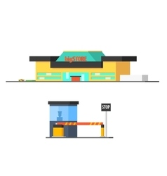 Shopping mall and checkpoint vector