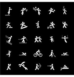 Sports icons set white vector