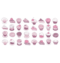 Cake icons set vector