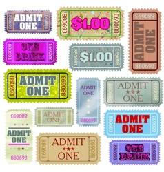Set of ticket admit one eps 8 vector