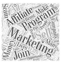 Affiliate marketing staying away from scams word vector