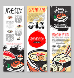 Banners set for sushi or seafood restaurant vector