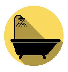 Bathtub sign flat black icon with flat vector