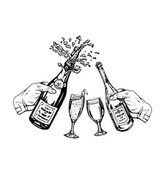 bottle of champagne and bottle of wine in hand and vector image