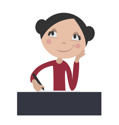 Cartoon girl daydreaming at school desk vector
