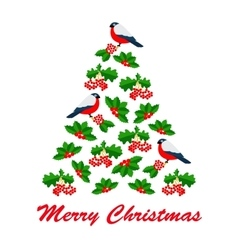 Christmas of red bulfinch and vector image