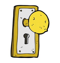 Comic cartoon old door knob vector