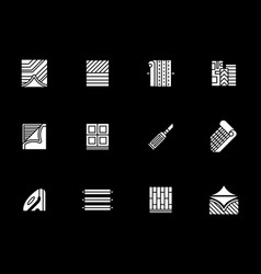 Construction materials white glyph icons vector