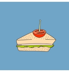 Cute hand-drawn cartoon style sandwich vector image vector image