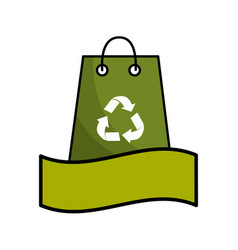 Green bag with recycling symbol and ribbon vector
