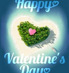 Happy Valentines Day Tropical Island vector image vector image