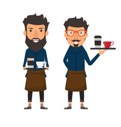 Hipster style barista holding a coffee on a tray vector
