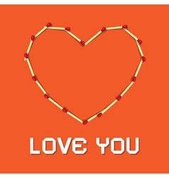 I Love You Theme Safety Matches Heart on Orange vector image
