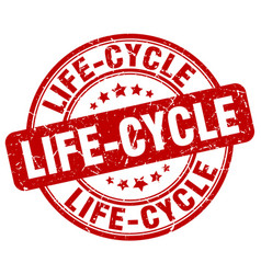 Life-cycle red grunge stamp vector