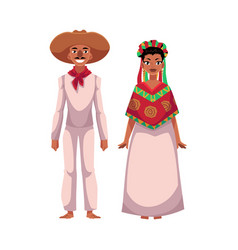 mexican man and woman in traditional casual vector image