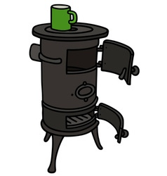 Old stove with a pot vector