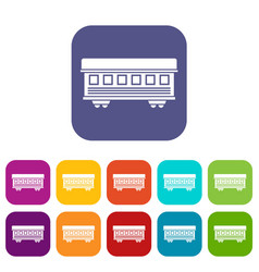 Passenger train car icons set vector