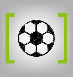 soccer ball sign black scribble icon in vector image vector image