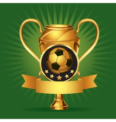 Soccer golden award trophy and medal vector image