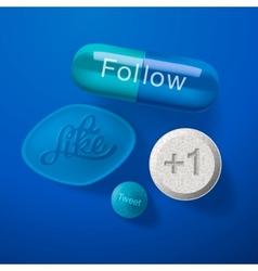 Social media addiction concept pills capsules vector
