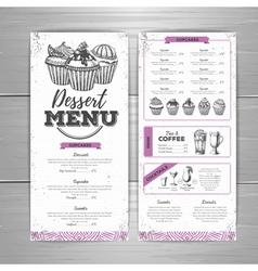Vintage dessert menu design vector image vector image