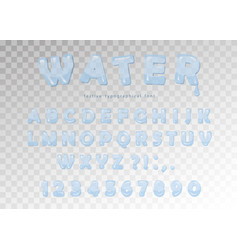 water font design transparent glossy abc letters vector image vector image