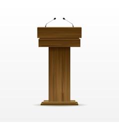 Wood podium tribune rostrum stand with microphone vector