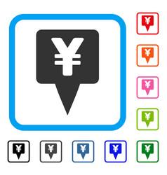 Yen map pointer framed icon vector