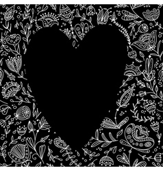 Black heart on floral background for your text vector
