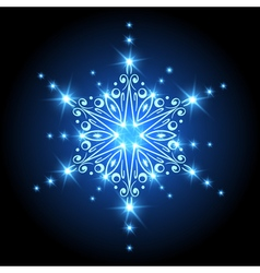 Magic Christmas Snowflake with glowing stars Xmas vector image