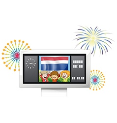The flag of Netherlands and kids inside the vector image